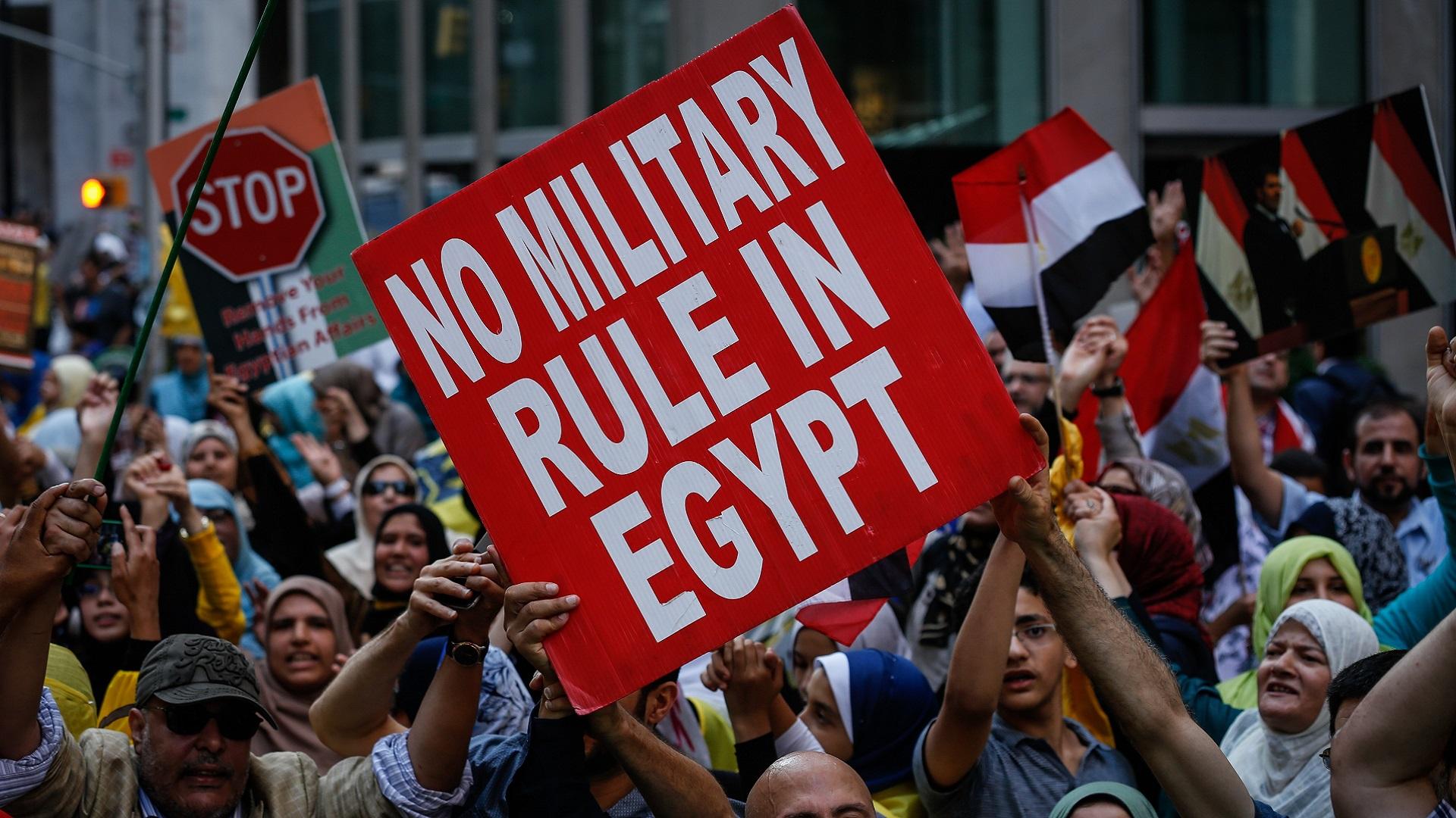 Morsi supporters rally in New York to mark Rabaa and Nahda massacres